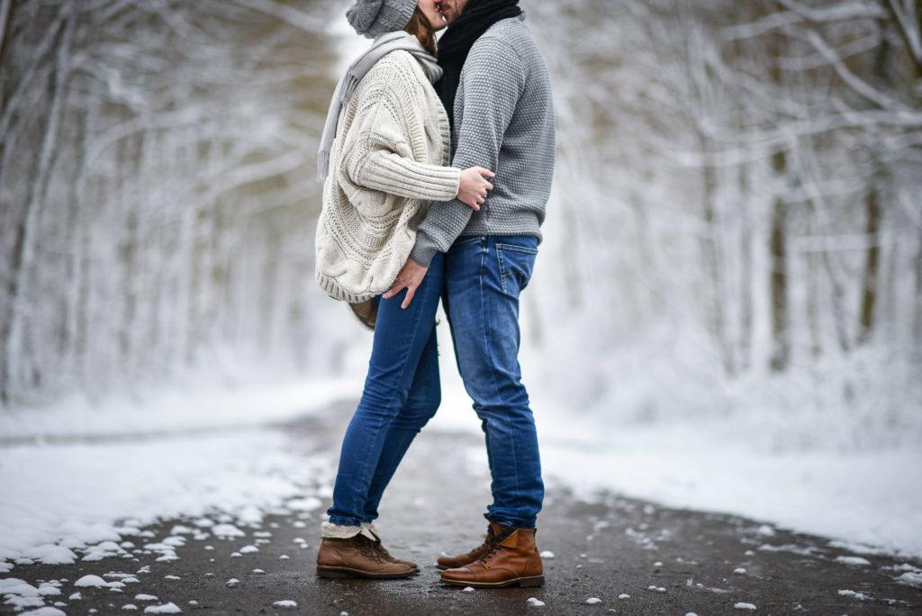 Couple Amoureux neige - Valentine Poulain
