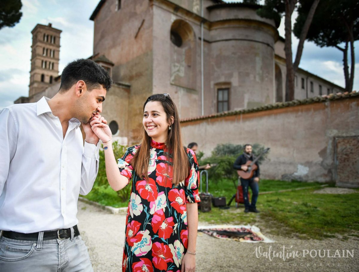 Shooting couple demande mariage Rome galant