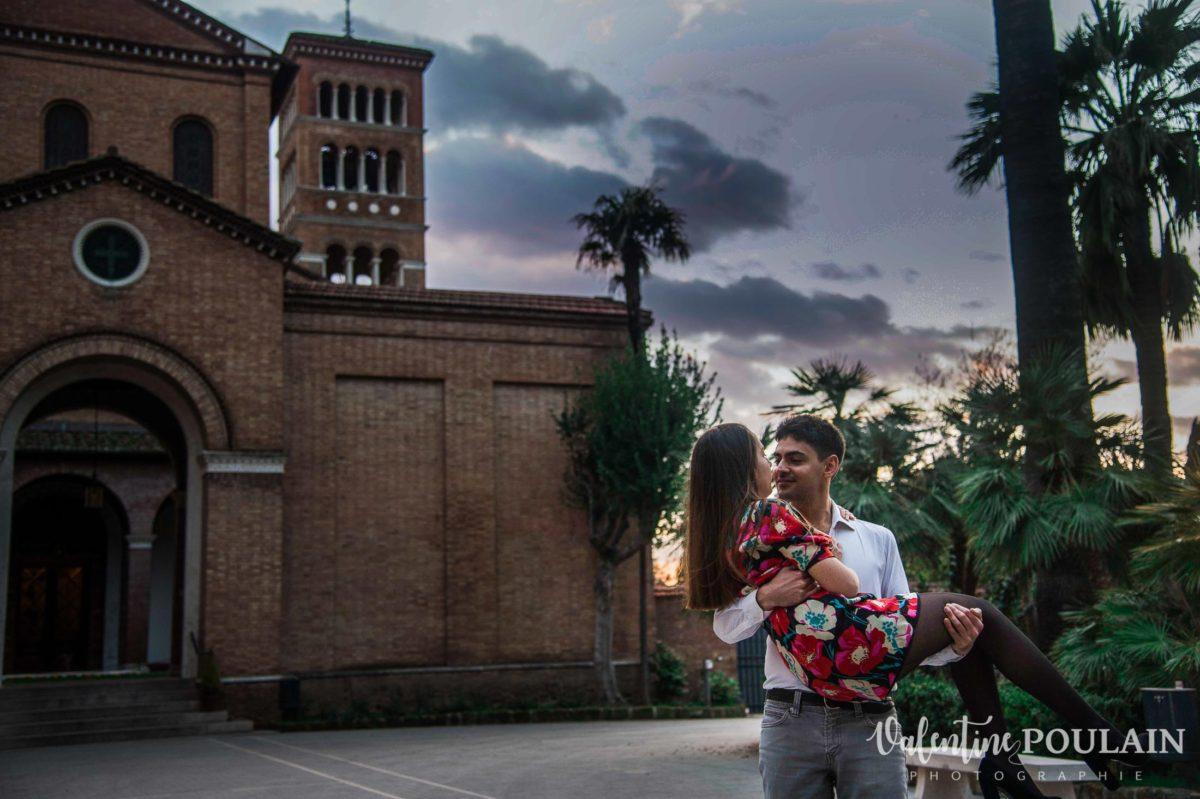 Shooting couple demande mariage Rome palmiers