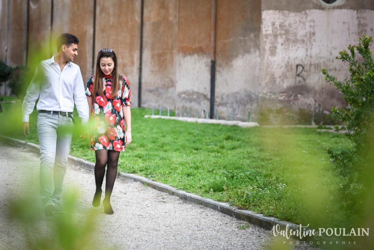 Shooting couple demande mariage Rome parc