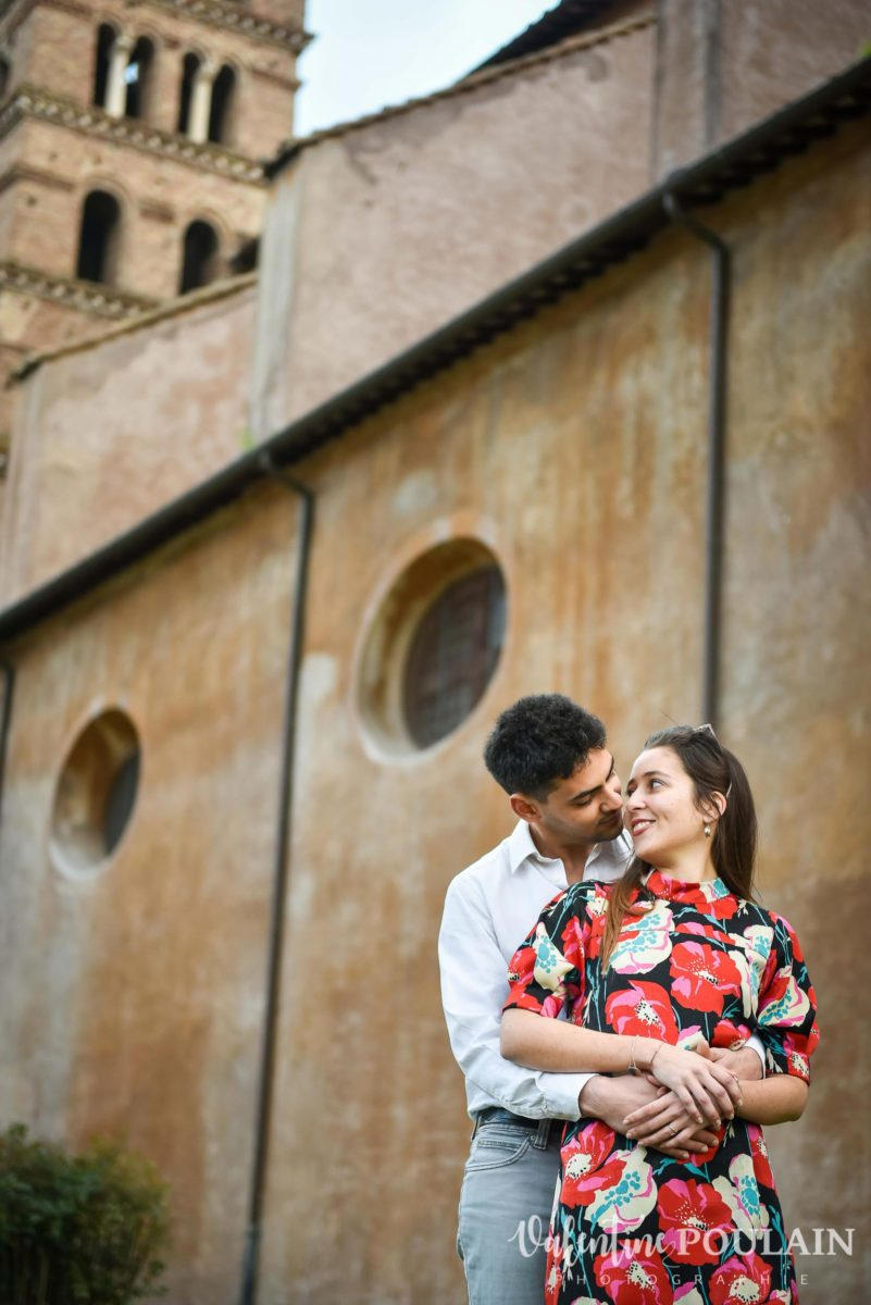 Shooting couple demande mariage Rome vertical