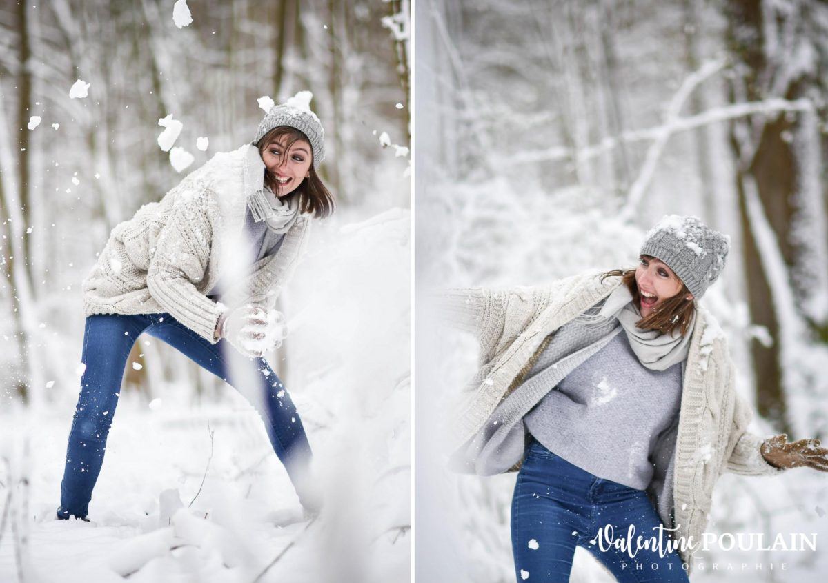 Shooting couple hivernal - Valentine Poulain bataille neige