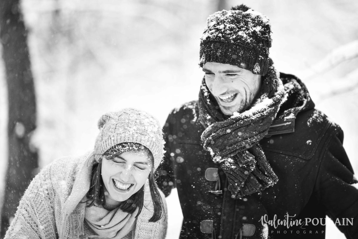 Shooting couple hivernal - Valentine Poulain rires