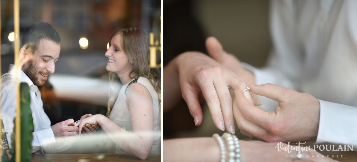 Shooting engagement demande mariage bar bague