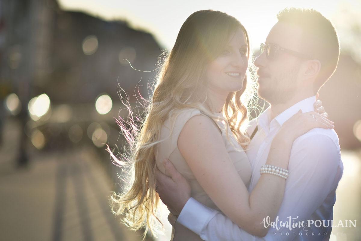 Shooting engagement demande mariage coucher soleil