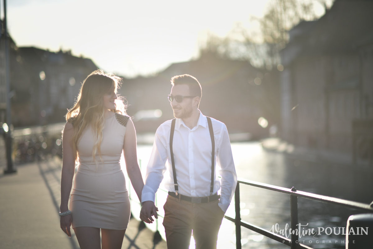 Shooting engagement demande mariage coucher marcher