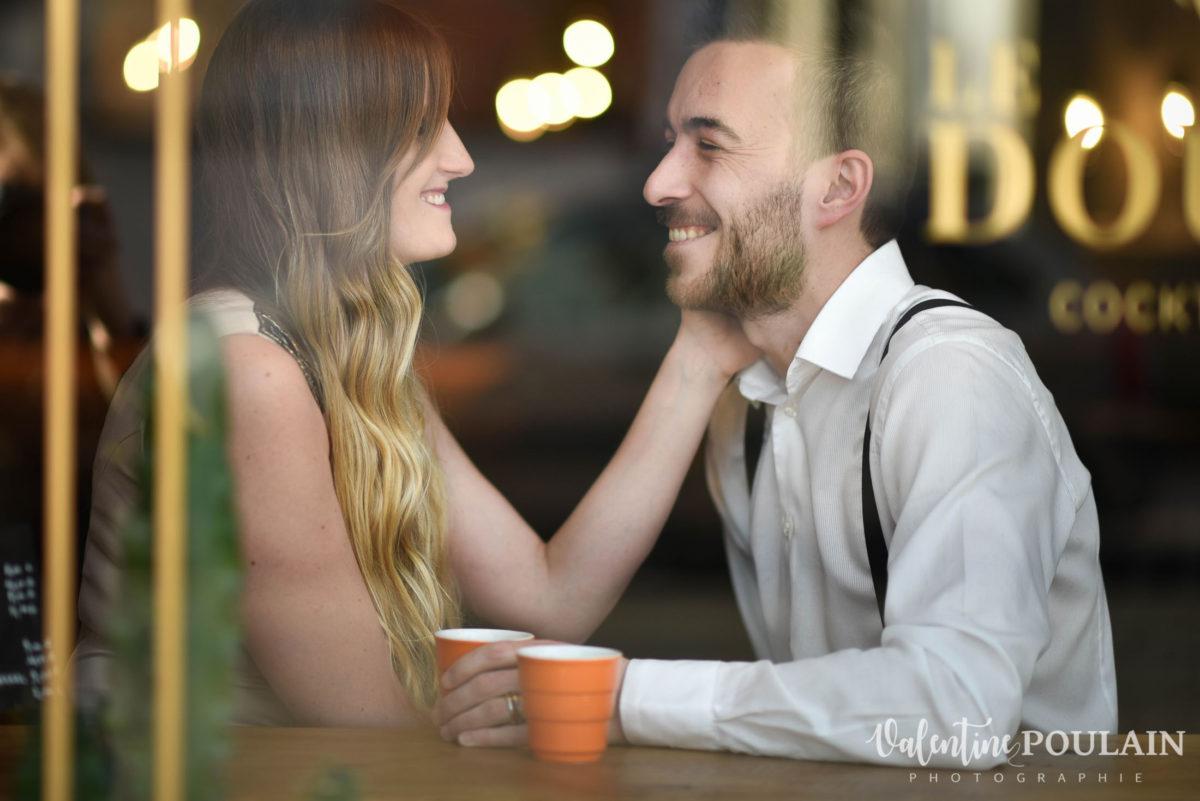Shooting engagement demande mariage bar rires