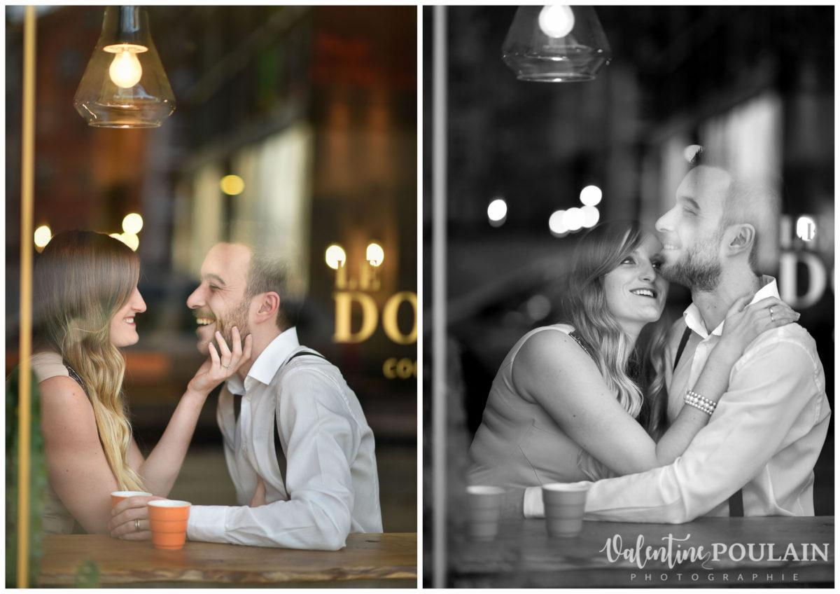Shooting engagement demande mariage bar vitre