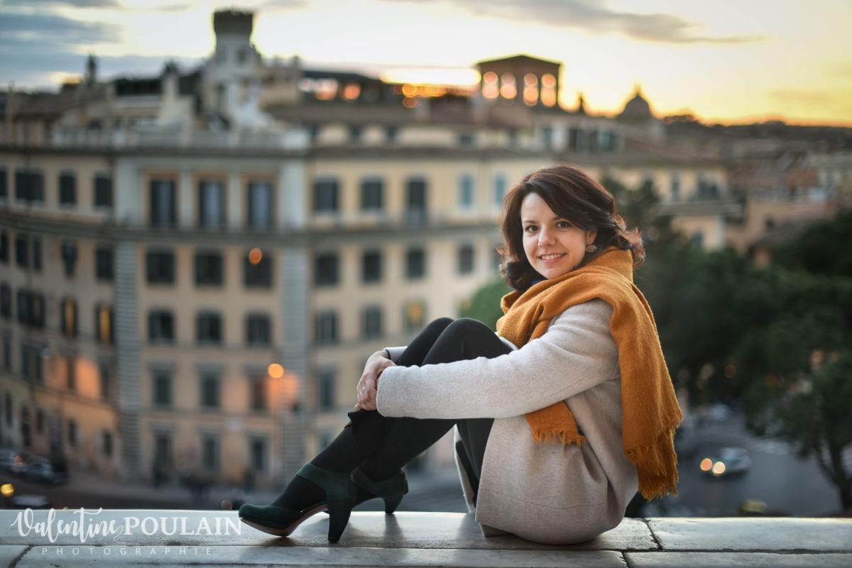 Shooting portrait Silvene Rome Créatrice coucher de soleil