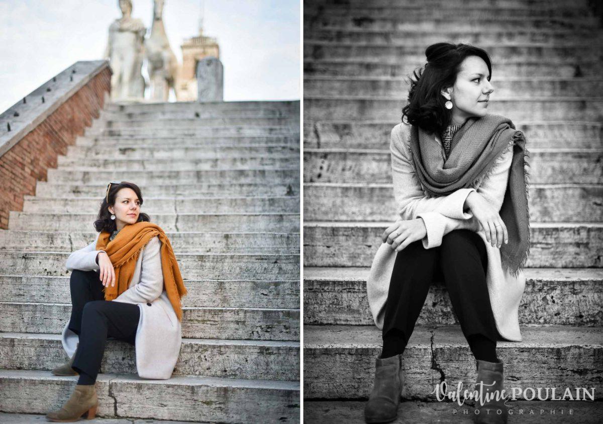 Shooting portrait Silvene Rome Créatrice marches