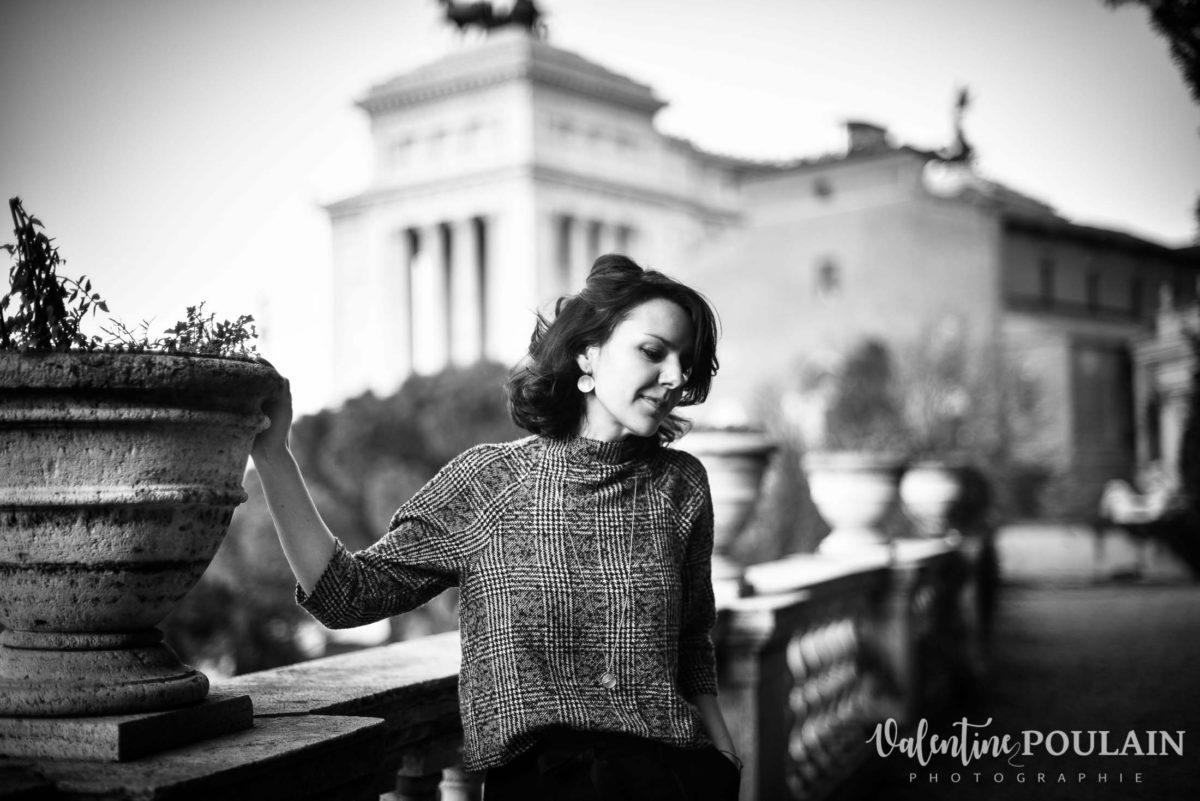 Shooting portrait Silvene Rome Créatrice n et b