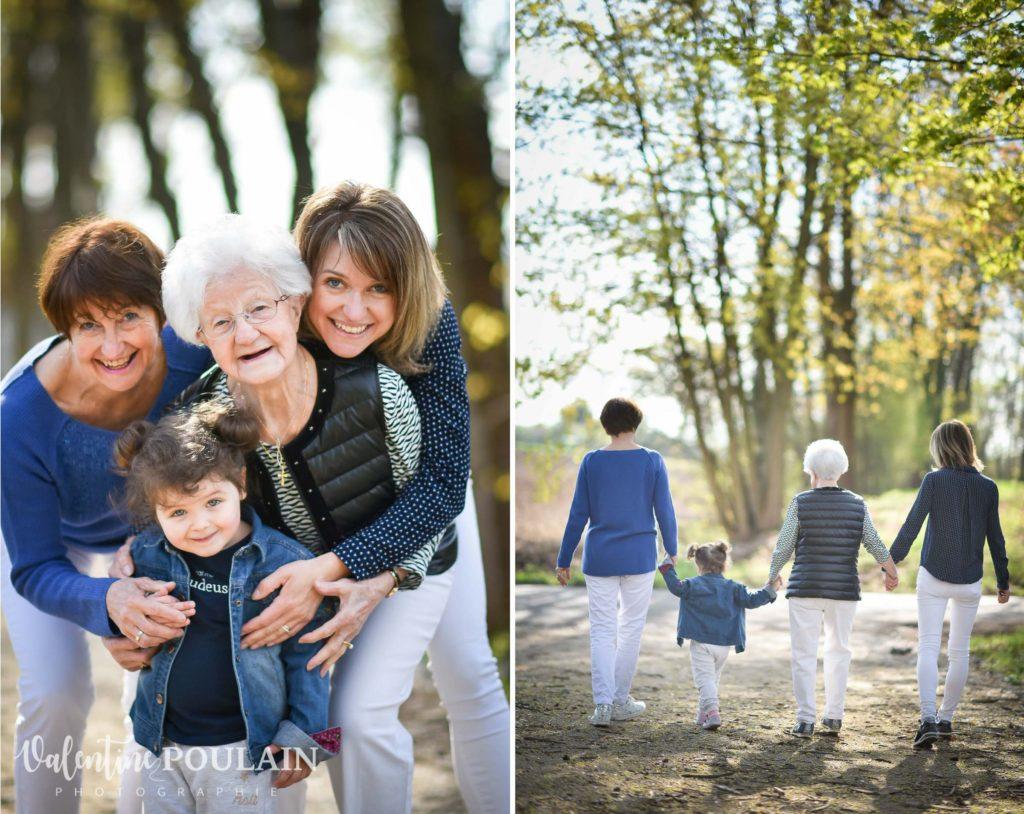 Shooting famille 4 générations femmes marcher