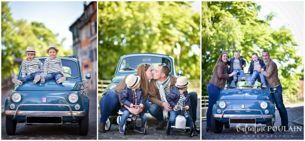 Shooting famille voiture ancienne fiat 500 triptyque