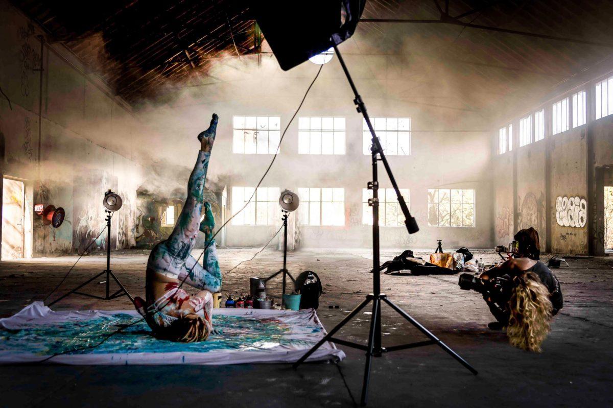 Behind the scenes making-of shooting yoga