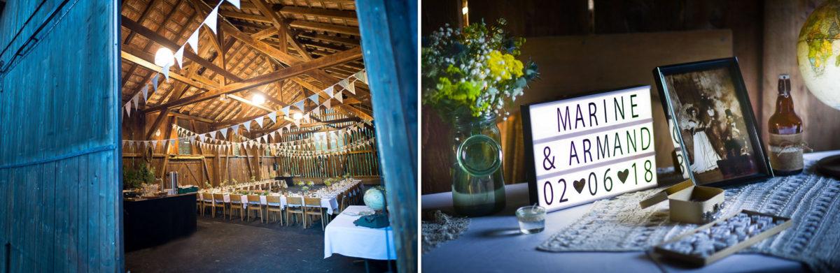 Mariage grange - Valentine Poulain réception diner