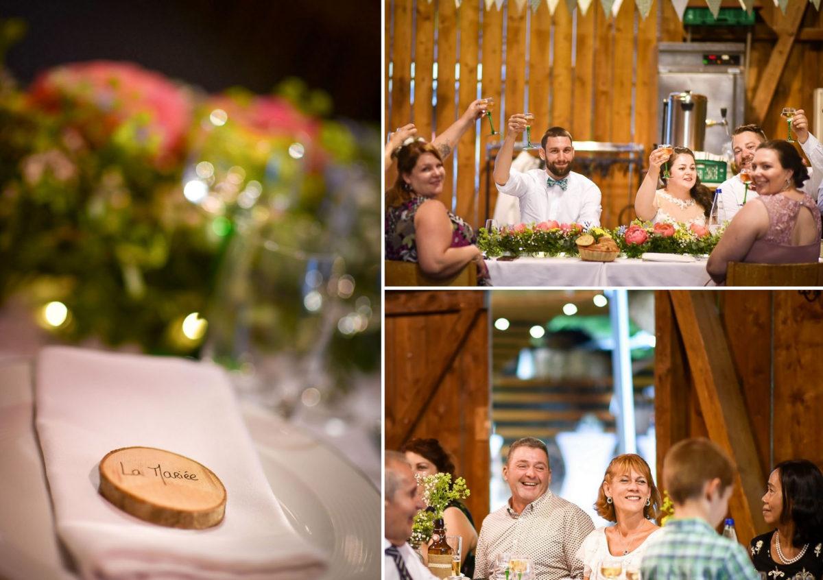 Mariage grange repas invités rires