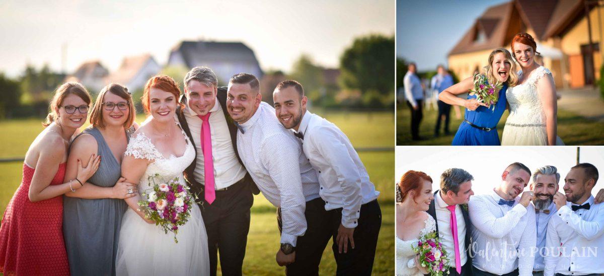 Mariage joyeux vert rose groupe amis- Valentine Poulain