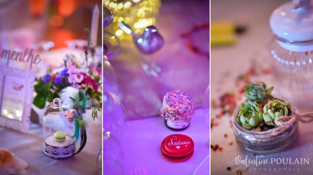 Mariage joyeux vert rose table déco - Valentine Poulain