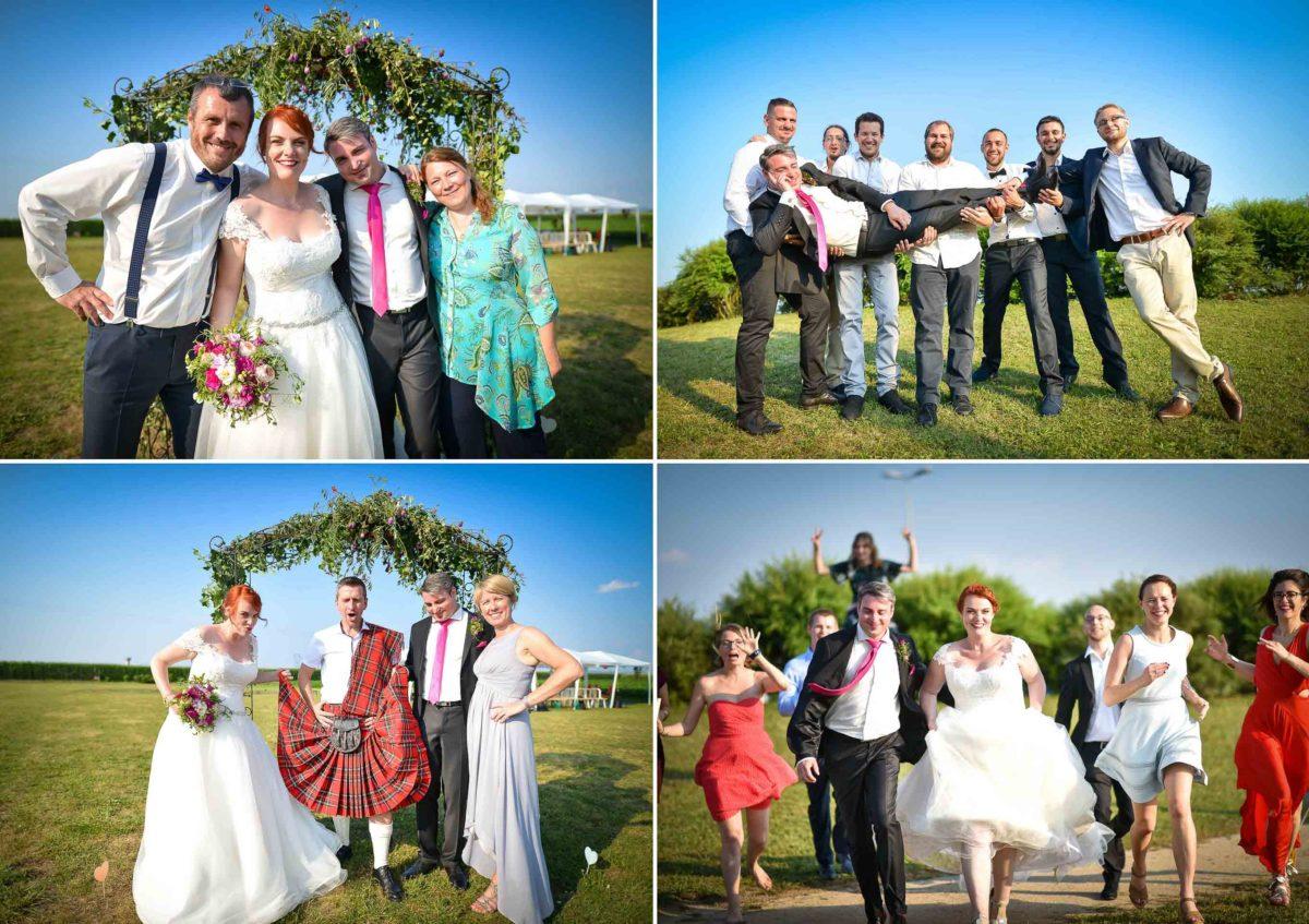 Mariage joyeux vert rose amis - Valentine Poulain