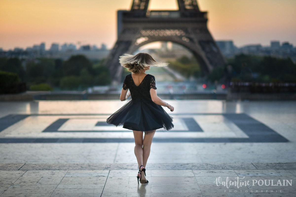 Shooting photo portrait Paris - Valentine Poulain robe noire