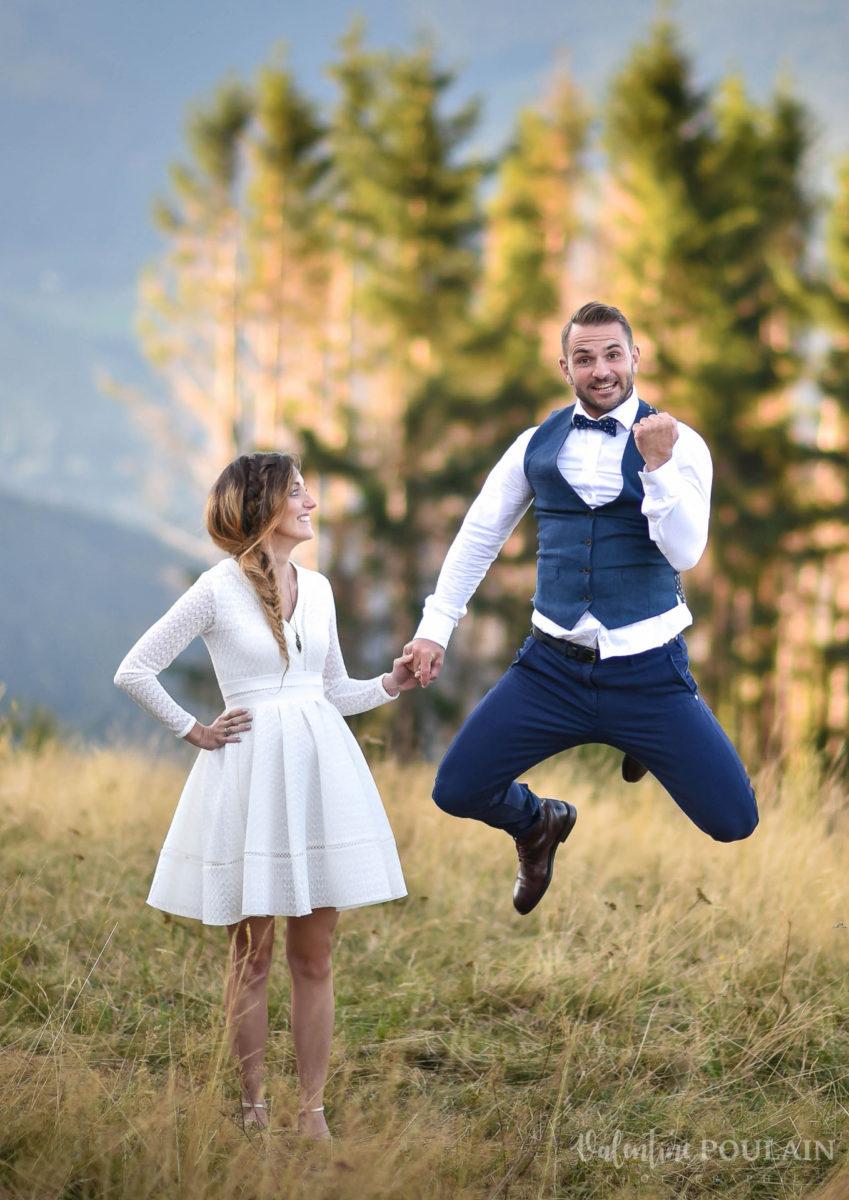 Mariage intimiste montagne - Valentine Poulain saut