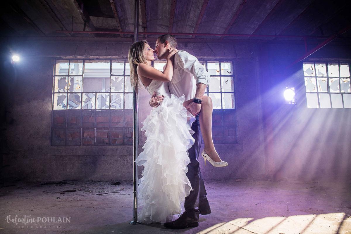 Shooting photo Pole Dance - Valentine Poulain mariés