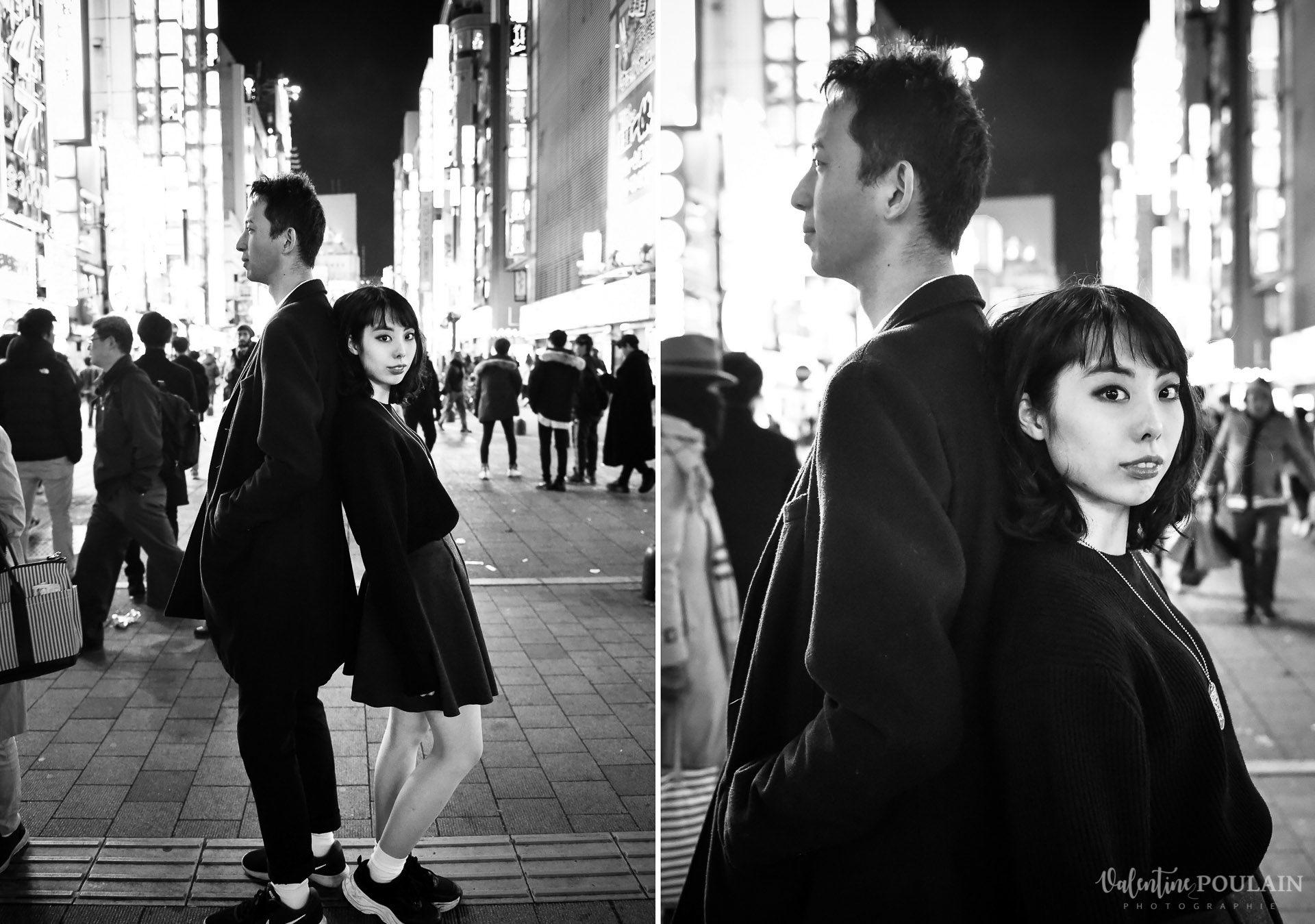 Shooting couple Japon Tokyo Valentine Poulain n&b