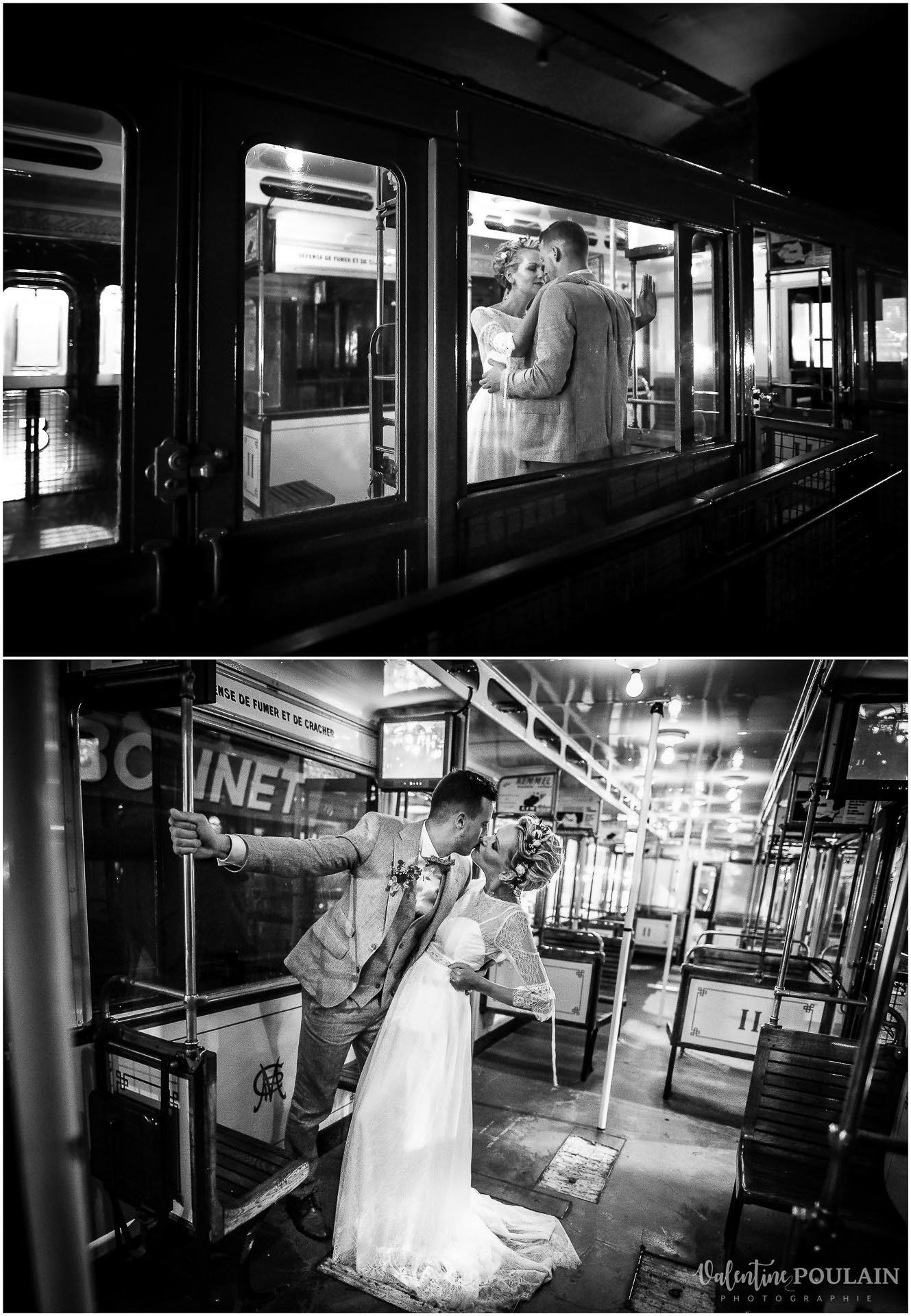 Photo couple noir blanc train - Valentine Poulain