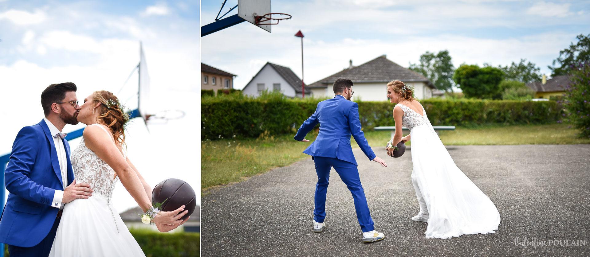 Mariage basketteurs - Valentine Poulain dribler