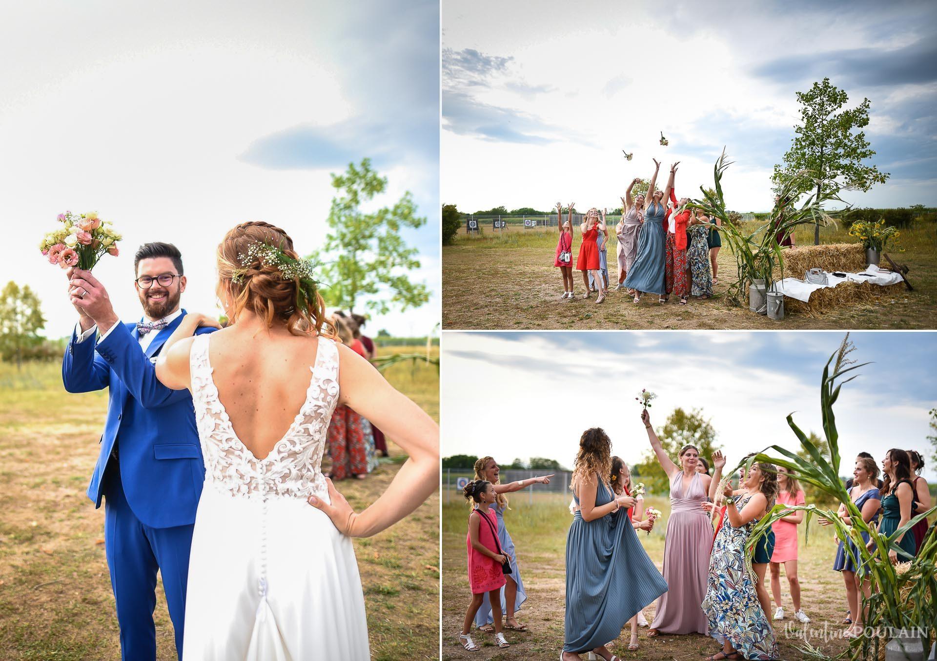 Mariage basketteurs - Valentine Poulain lancer bouquet marié