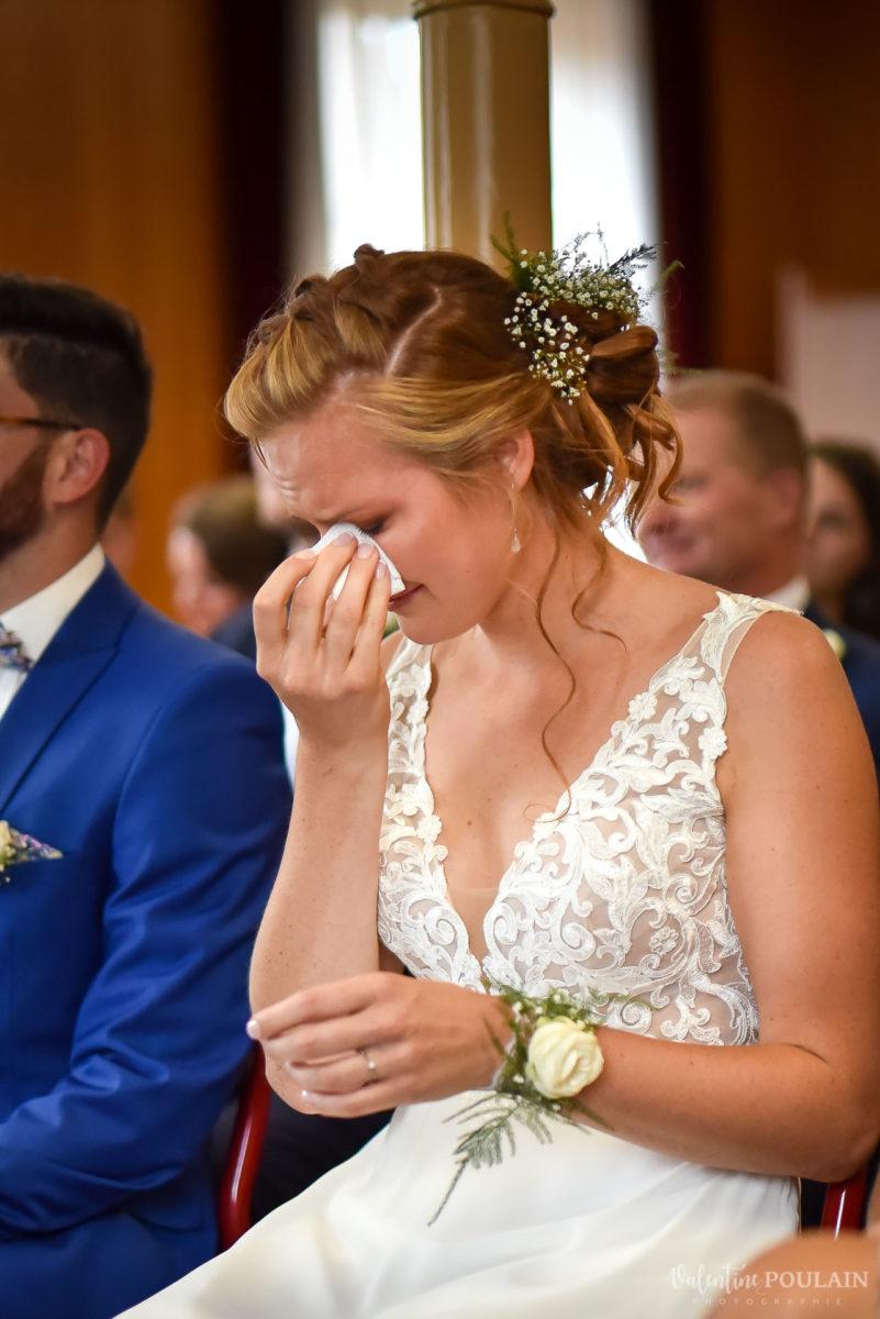 Mariage basketteurs - Valentine Poulain larmes