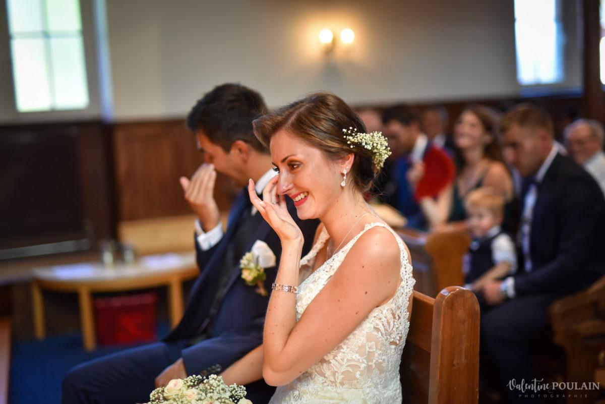 Mariage romantique Domaine Beaupré - Valentine Poulain larmes