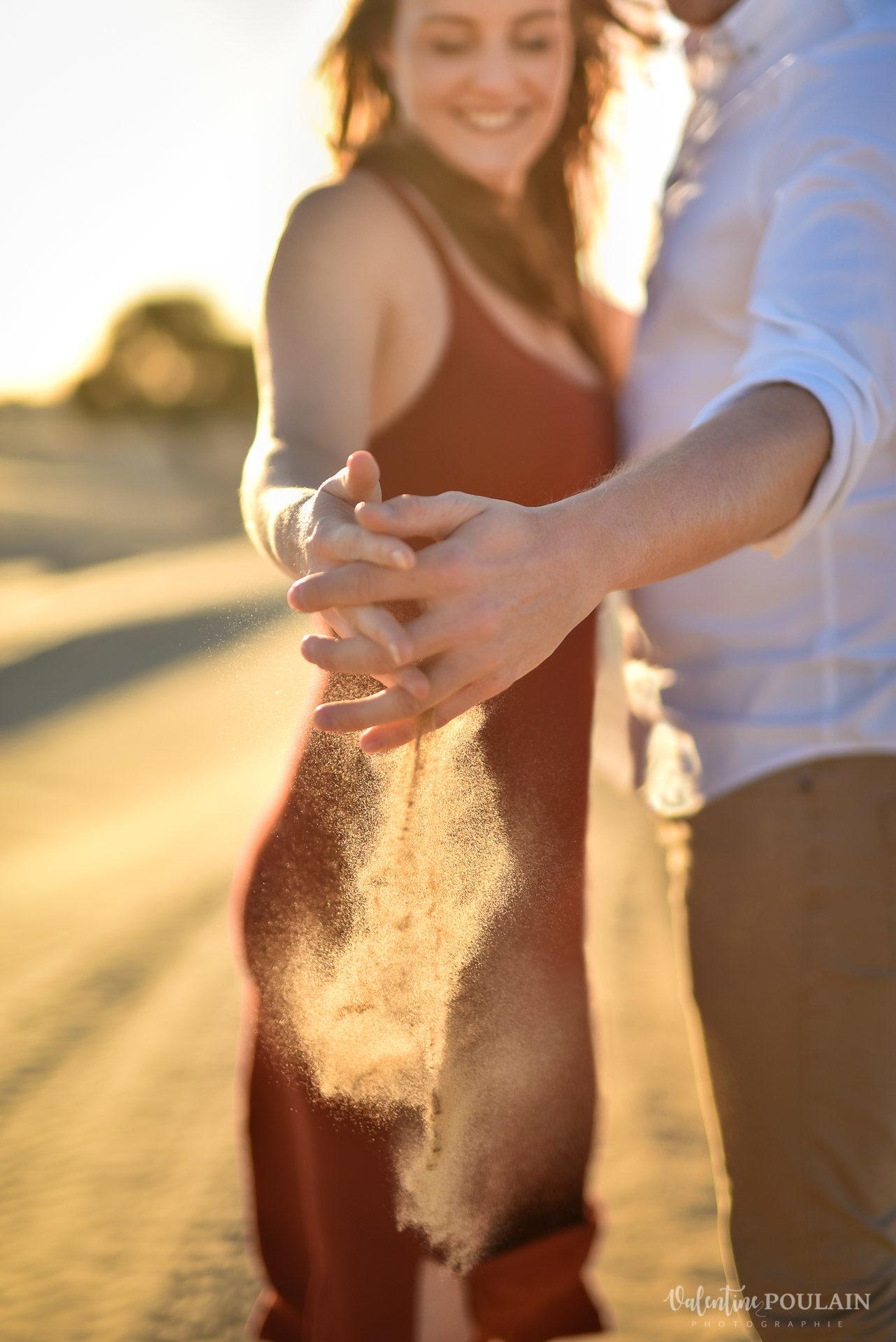 Demande en mariage Désert Dubaï - Valentine Poulain sable