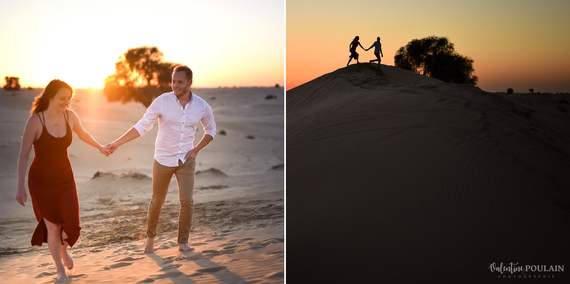 Demande en mariage désert-Dubaï Valentine Poulain dune