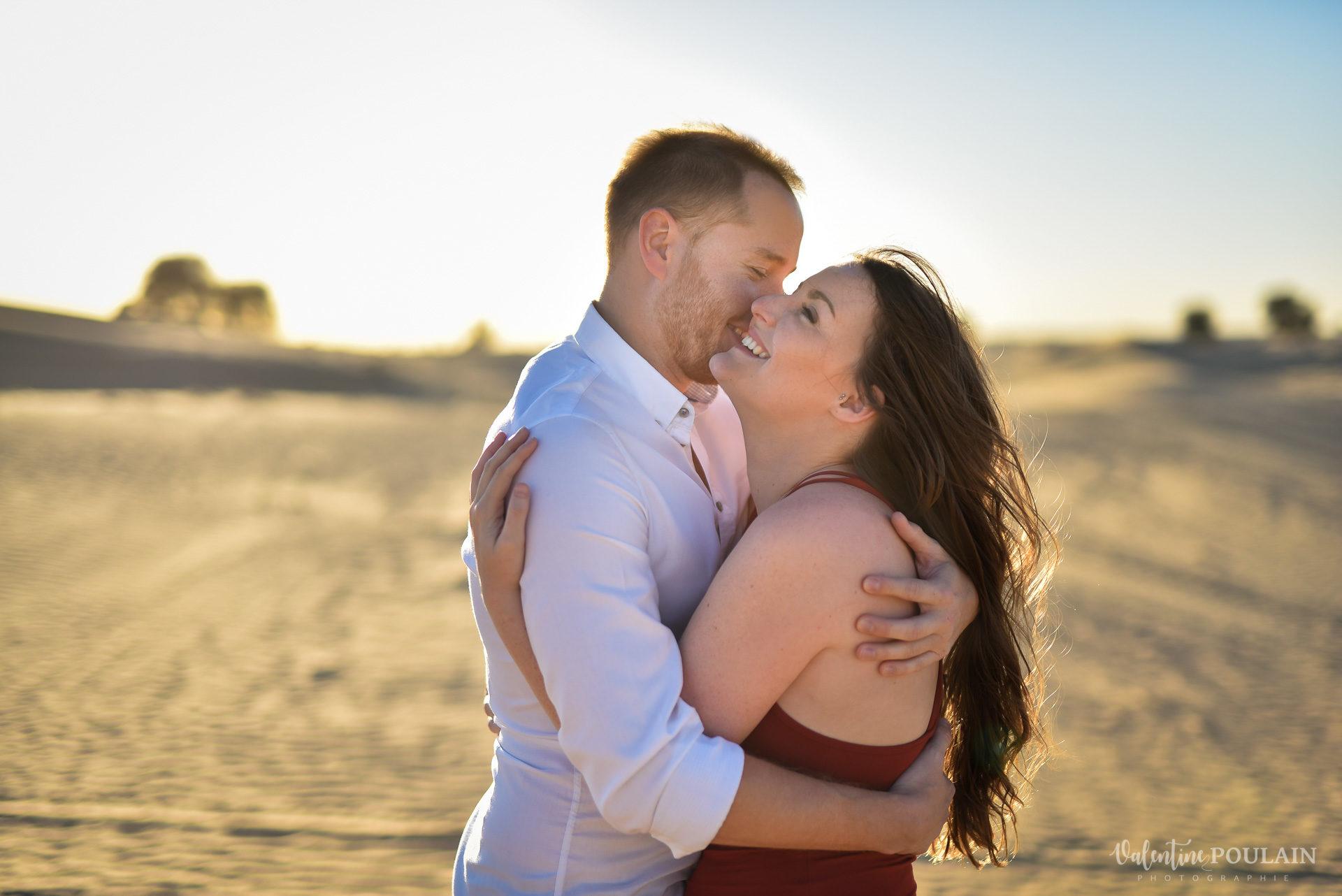 Demande en mariage Désert Dubaï - Valentine Poulain bonheur