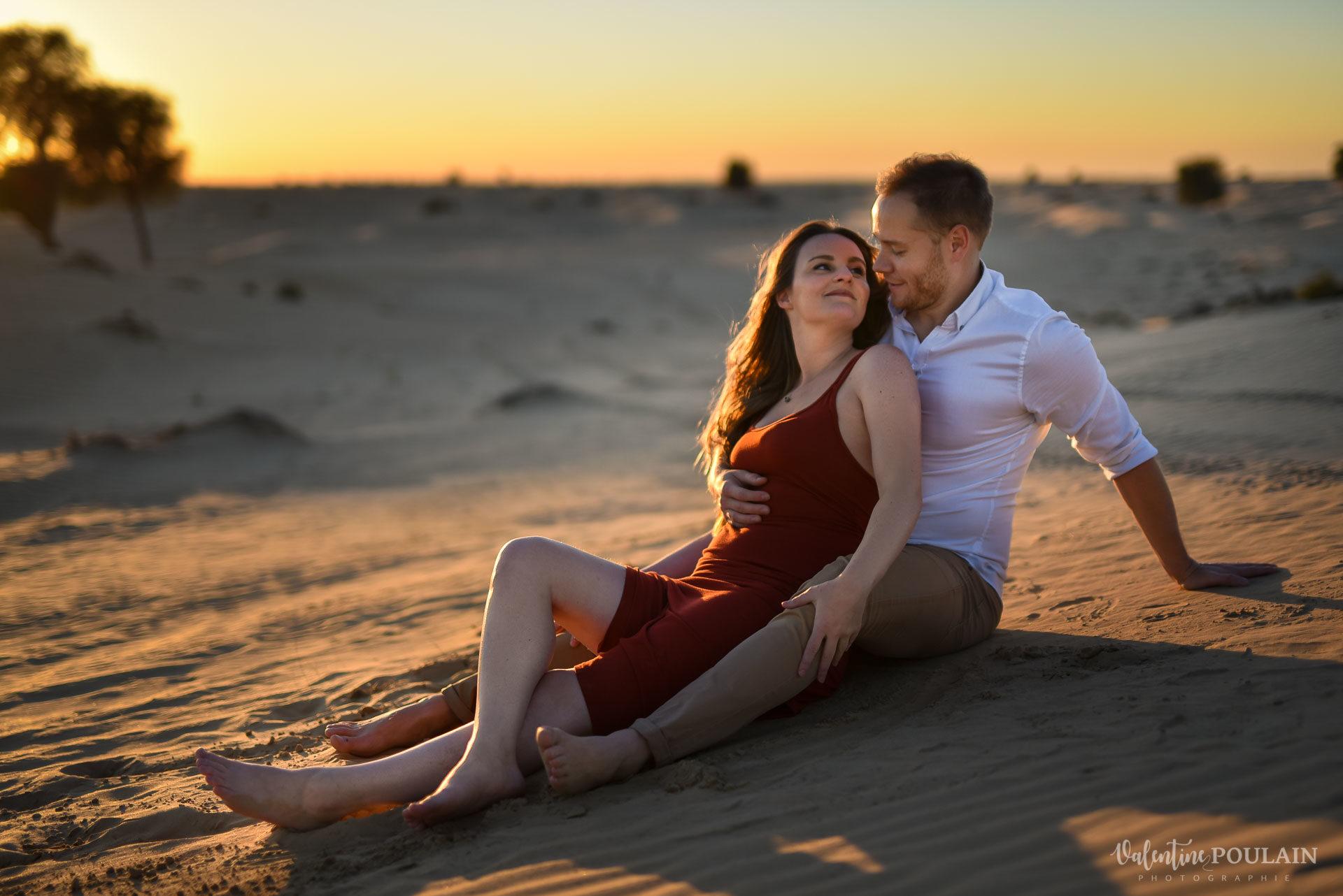 Demande en mariage Désert Dubaï - Valentine Poulain - sol