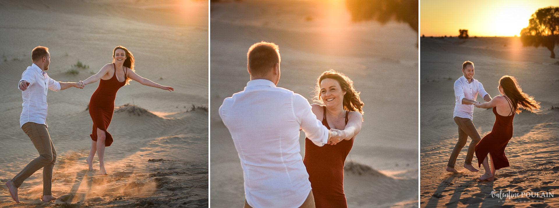 Demande en mariage désert-Dubaï Valentine Poulain tournent