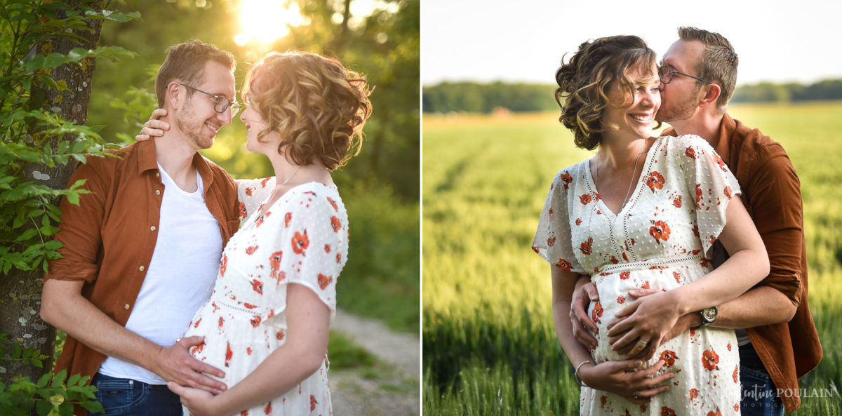 Seance grossesse famille coucher soleil couple - Valentine Poulain-2
