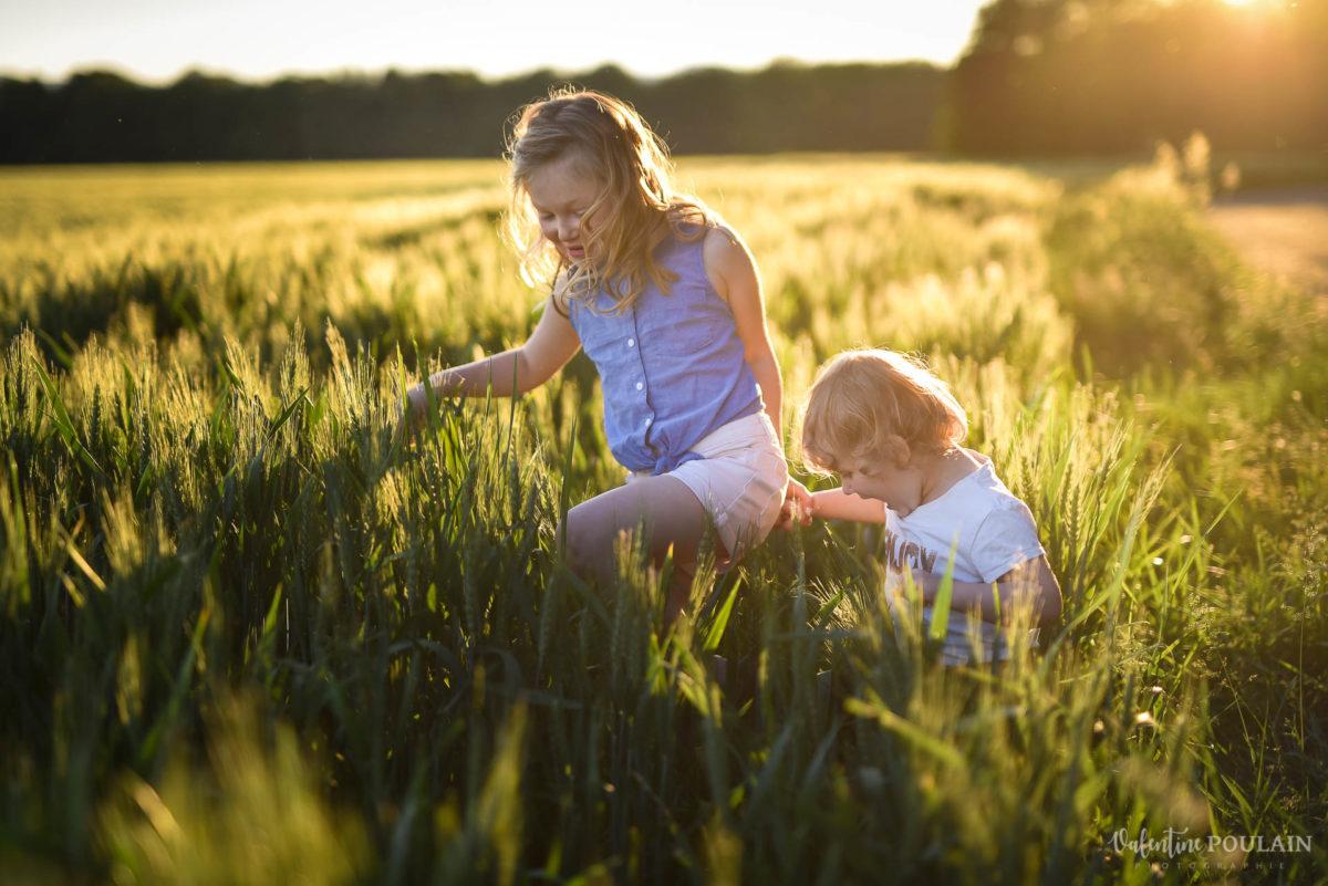 Séance photo Famille champs blé - Valentine Poulain fillettes