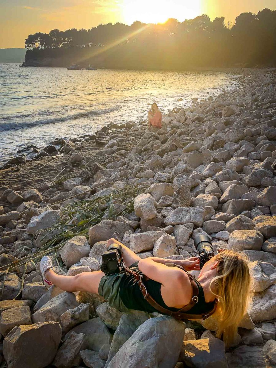 making-of shooting sud calanques - Valentine Poulain coucher