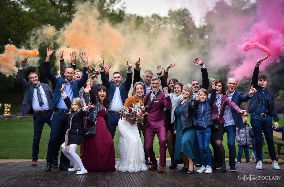 Mariage rock automne Domaine du Hirtz - Valentine Poulain groupe fumigènes