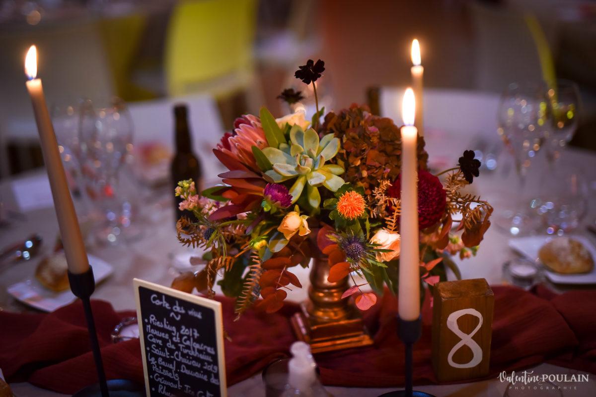 Mariage rock automne Domaine du Hirtz - Valentine Poulain soirée tables