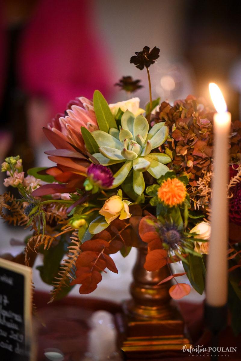 Mariage rock automne Domaine du Hirtz - Valentine Poulain soirée tables fleur