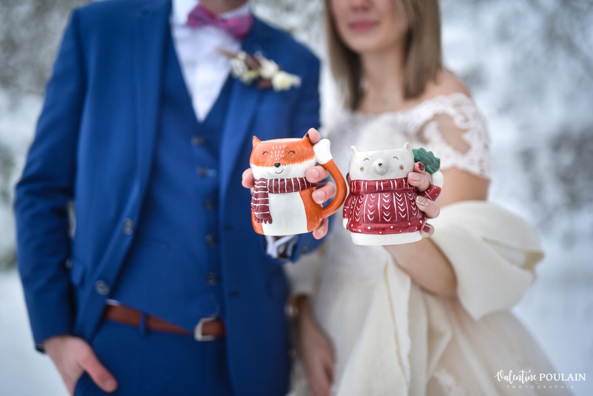 Photo mariage neige hiver - Valentine Poulain tasses