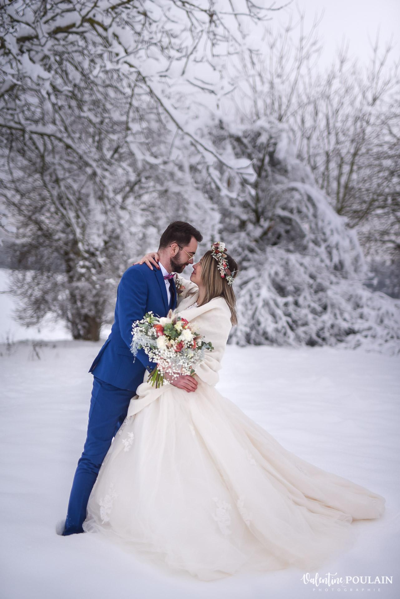 Photo mariage neige hiver - Valentine Poulain rock