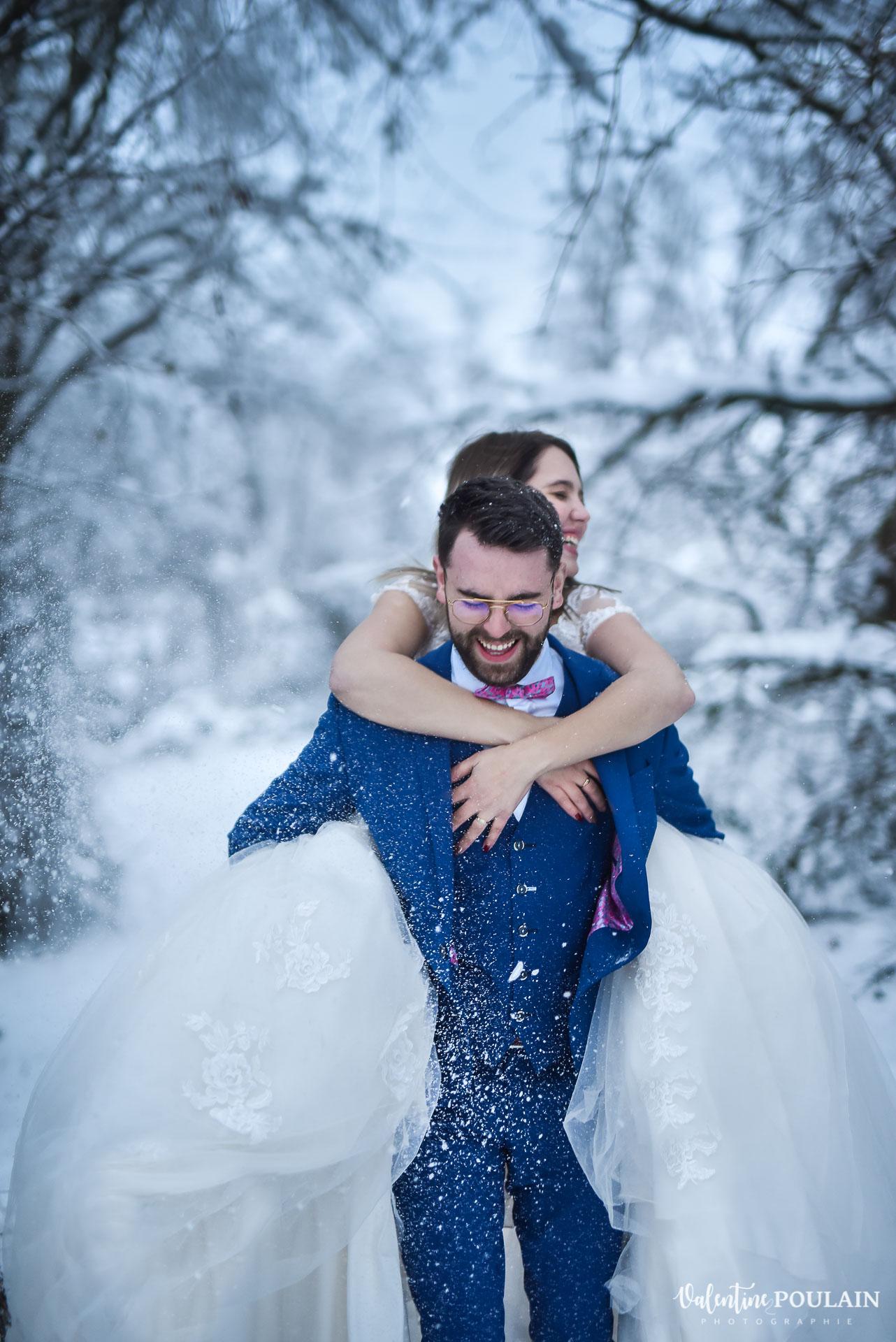 Photo mariage neige hiver - Valentine Poulain flocons
