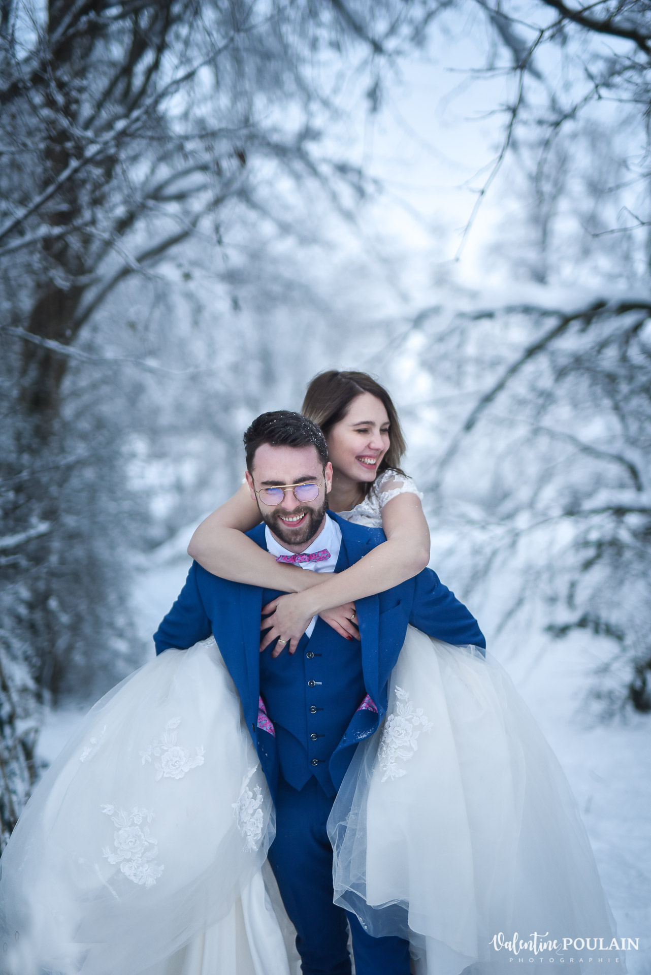 Photo mariage neige hiver - Valentine Poulain venir
