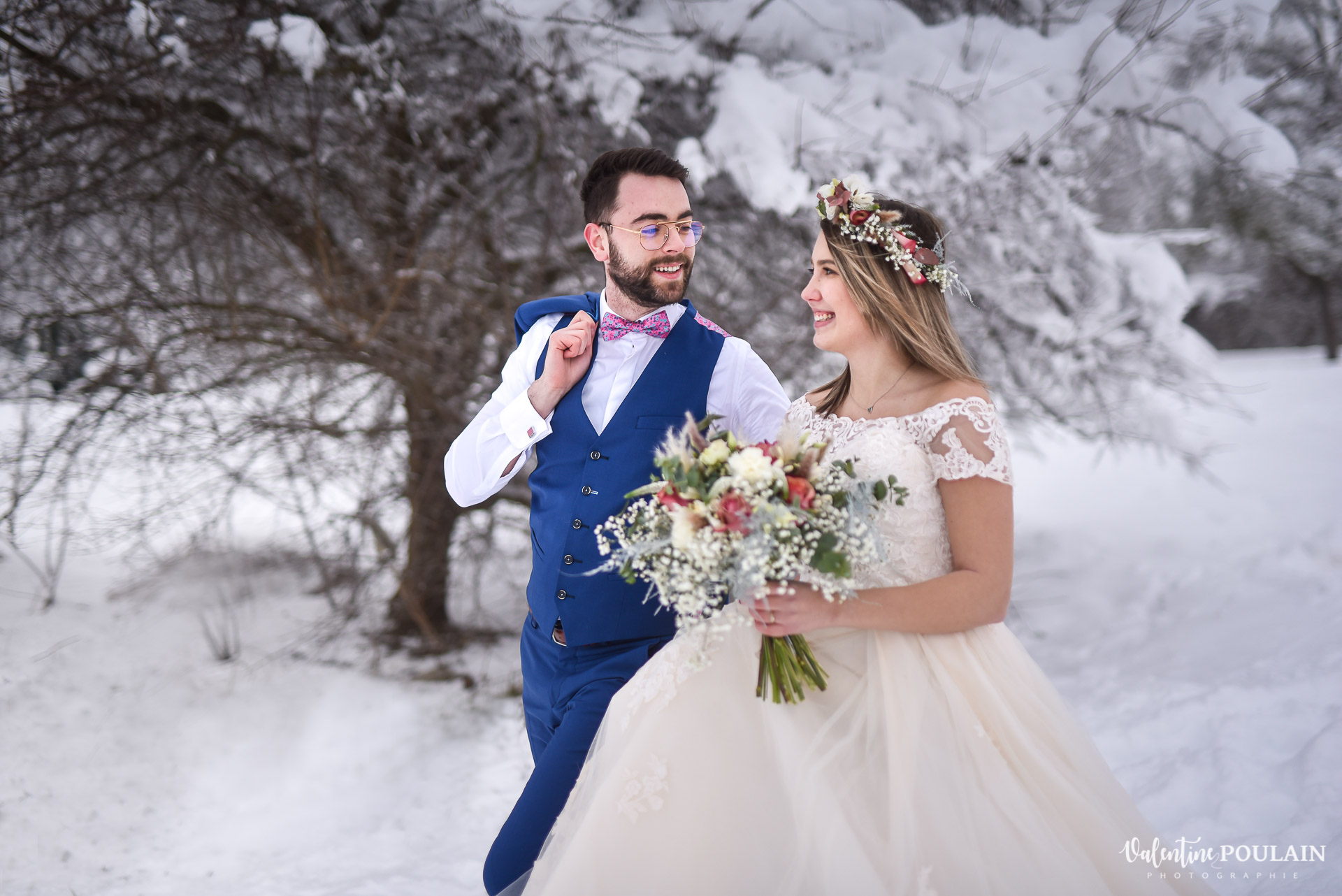 Photo mariage neige hiver - Valentine Poulain regard
